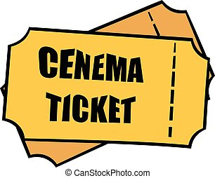 Cinema tickets icon cartoon