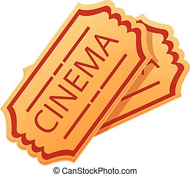 Cinema tickets icon, cartoon style