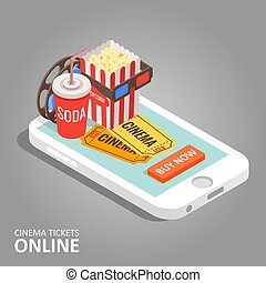 Cinema tickets online vector illustration