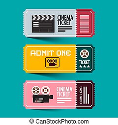Cinema Tickets Set. Paper Admit One Vector Ticket Set with Old Camera.