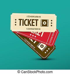 Cinema Tickets. Vector Paper Movie Ticket Symbol.
