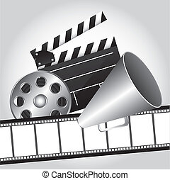 cinema vector - film strip with clapper board and megaphone,...