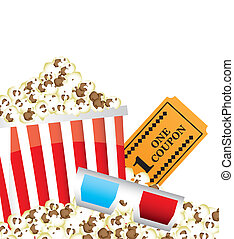 cinema vector - pop corn with 3d glasses and ticket. vector ...
