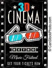 Cinema vector retro poster with 3d glasses