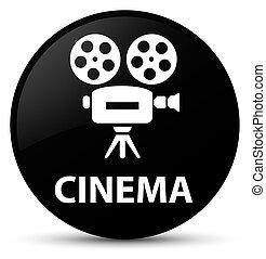 Cinema (video camera icon) black round button