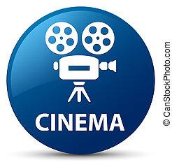 Cinema (video camera icon) blue round button