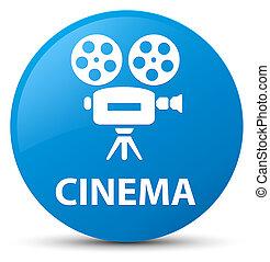 Cinema (video camera icon) cyan blue round button
