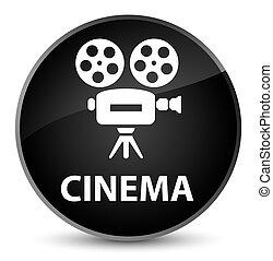 Cinema (video camera icon) elegant black round button