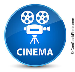 Cinema (video camera icon) elegant blue round button