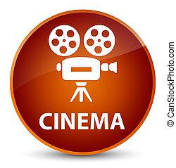 Cinema (video camera icon) elegant brown round button