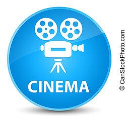 Cinema (video camera icon) elegant cyan blue round button