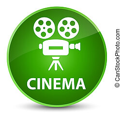 Cinema (video camera icon) elegant green round button