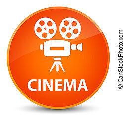 Cinema (video camera icon) elegant orange round button