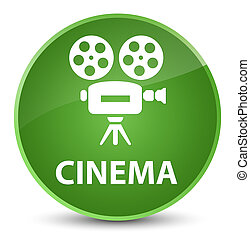 Cinema (video camera icon) elegant soft green round button