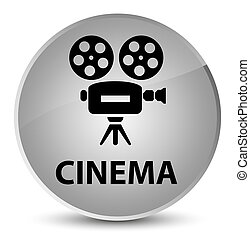 Cinema (video camera icon) elegant white round button