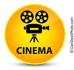 Cinema (video camera icon) elegant yellow round button
