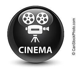 Cinema (video camera icon) glassy black round button