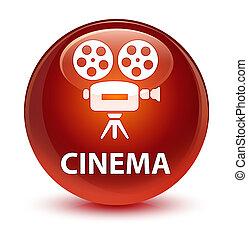 Cinema (video camera icon) glassy brown round button