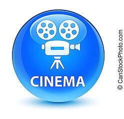 Cinema (video camera icon) glassy cyan blue round button