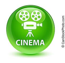 Cinema (video camera icon) glassy green round button