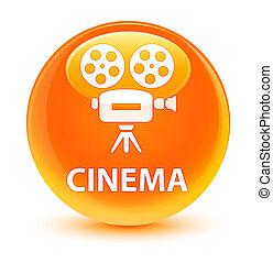Cinema (video camera icon) glassy orange round button