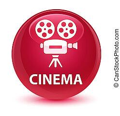 Cinema (video camera icon) glassy pink round button