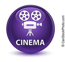Cinema (video camera icon) glassy purple round button