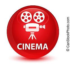 Cinema (video camera icon) glassy red round button