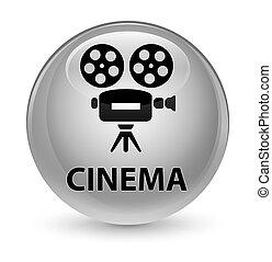 Cinema (video camera icon) glassy white round button
