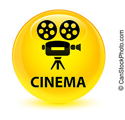 Cinema (video camera icon) glassy yellow round button