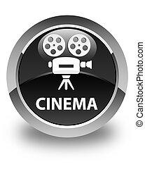 Cinema (video camera icon) glossy black round button