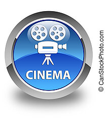 Cinema (video camera icon) glossy blue round button