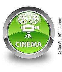 Cinema (video camera icon) glossy green round button