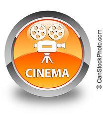 Cinema (video camera icon) glossy orange round button