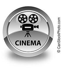 Cinema (video camera icon) glossy white round button