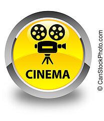 Cinema (video camera icon) glossy yellow round button