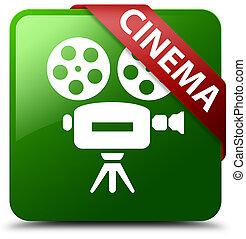 Cinema (video camera icon) green square button red ribbon in corner