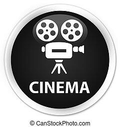 Cinema (video camera icon) premium black round button