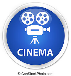 Cinema (video camera icon) premium blue round button