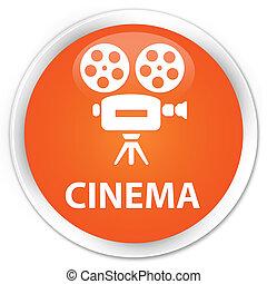 Cinema (video camera icon) premium orange round button