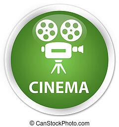 Cinema (video camera icon) premium soft green round button