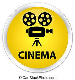 Cinema (video camera icon) premium yellow round button