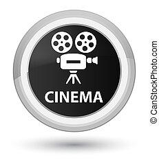 Cinema (video camera icon) prime black round button