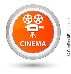 Cinema (video camera icon) prime orange round button