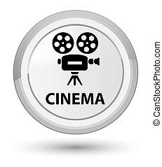 Cinema (video camera icon) prime white round button