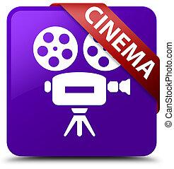 Cinema (video camera icon) purple square button red ribbon in corner