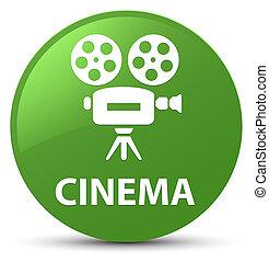 Cinema (video camera icon) soft green round button