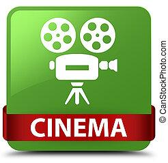 Cinema (video camera icon) soft green square button red ribbon in middle
