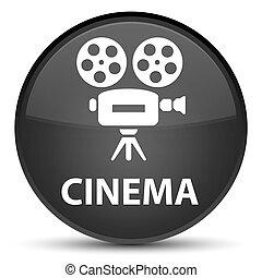 Cinema (video camera icon) special black round button