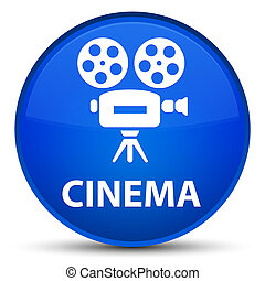 Cinema (video camera icon) special blue round button